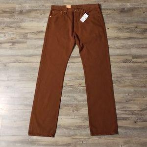 Mens Levi's 501 Brown Straight Leg Jeans New